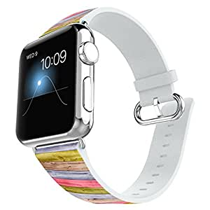 Apple Watch Band 42mm Leather + Stainless Steel Connector iWatch Band Replacement Bracelet Strap for Apple Watch Sport and Edition 42mm - Colorful simple wood