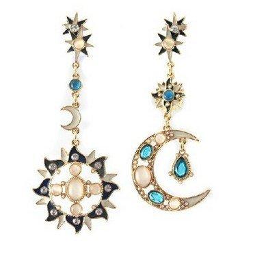 Orecchini asimmetrici di forma di moda creativa vintage diamante sole luna