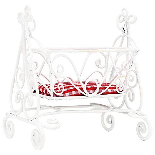 KEYREN 1:12 Puppenhaus Mini White Cradle Möbel Modell Baby Schlafzimmer Zubehör Matte White Modell