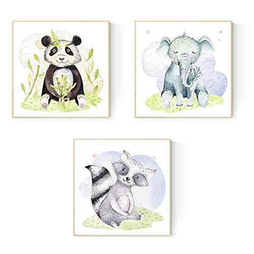 Nacnic Set de 3 láminas para enmarcar Elefante, Oso Panda Y Oso...