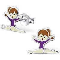 Tata Gisele© pendientes niños en plata 925/000rhodié y epoxy–Bailarina–8x 10mm