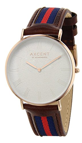 axcent of scandinavia–ix5700r-07career strap unisex watch–analogue quartz–white dial–brown leather