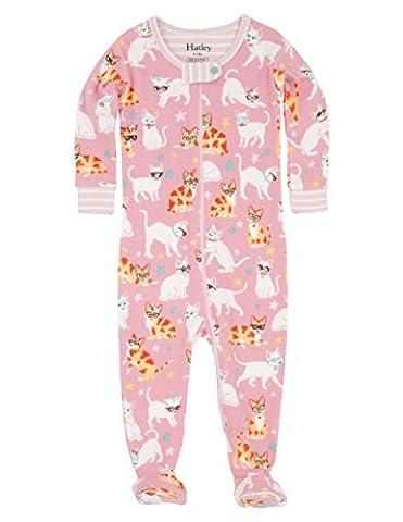 Hatley 100% Organic Cotton Footed Sleepsuit, Pyjama Bébé Fille, Pink (Cool Cats), 18 Mois