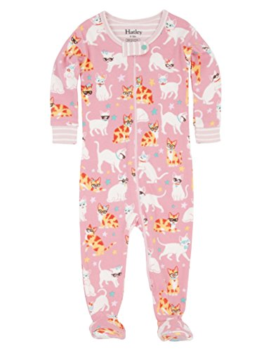 Hatley Baby-Mädchen Schlafstrampler 100% Organic Cotton Footed Sleepsuit Pink (Cool Cats), 74 (Baby Infant Sleeper Footed)