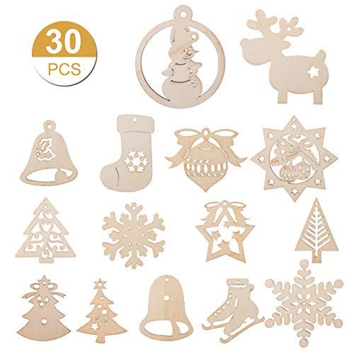 Kesote 30 Adornos Colgantes Madera Árbol Navidad