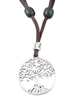 Damen Lebensbaum Kette Halskette Hohl Rund Scheibe Baum Anhänger Lederkette Braun Altsilber Farbe