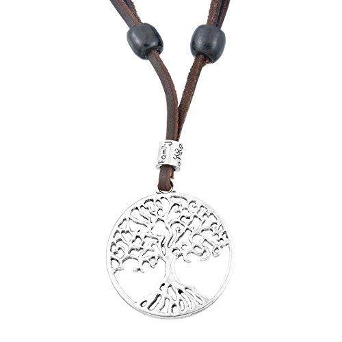 Damen Lebensbaum Kette Leder Halskette Hohl Rund Scheibe Baum Anhänger Lederkette Braun Altsilber Farbe (Leder-halskette Für Anhänger)