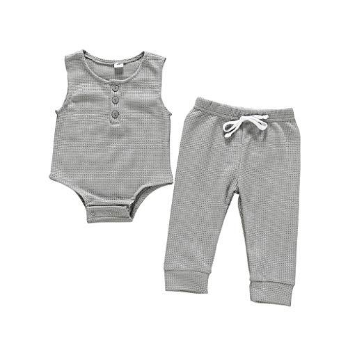 Anglewolf Baby Strampler Babymützen Neugeboren Kinder Mädchen Jungen Einfarbig Outfits Kleider 2 Stück Ärmellos Spielanzug + Hose Beschriftung 0-24 Monate(Grau,100)