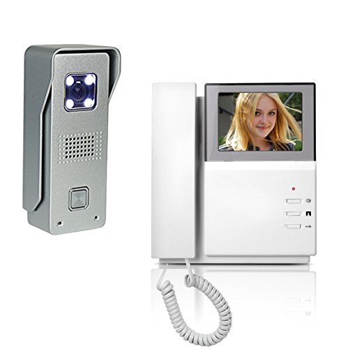 "Amocam Wired Telephone style Video Door Phone Intercom Doorbell Kit IR Night Vision Aluminum alloy Camera Rainproof Rustproof Door Bell Intercom Doorphone 4.3"" Clear LCD Monitor"