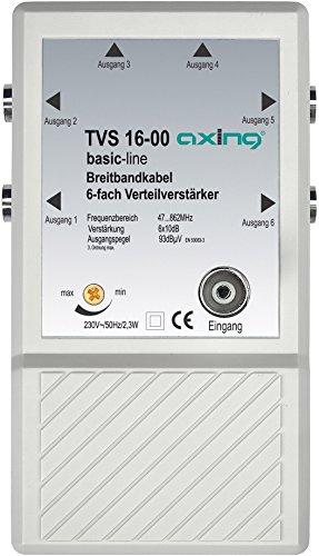 Axing TVS 16-00 Amplificatore per antenna TV digitale terrestre e FM radio, 6 Uscite, 10 dB, 47-862 MHz
