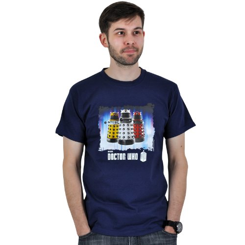 Doctor Who Daleks Roboter T-Shirt Science Fiction Mode zur TV Serie Dr. Who blau lizenziert Rundhals - XXL