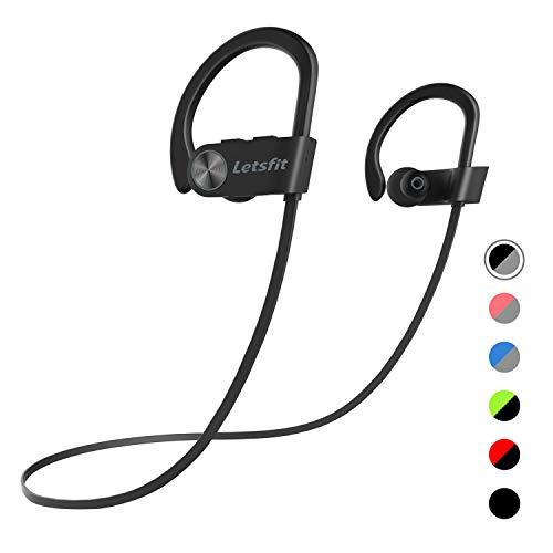 Bluetooth Kopfhörer, Letsfit Kabellose Sport Kopfhörer IPX7 Wasserdicht In Ear Headset mit Mikrofon CVC 6.0 Stereo Sound 8 Stunden Spielzeit für Gym Fitness MEHRWEG - Bluetooth-stereo-headset Mit Mikrofon