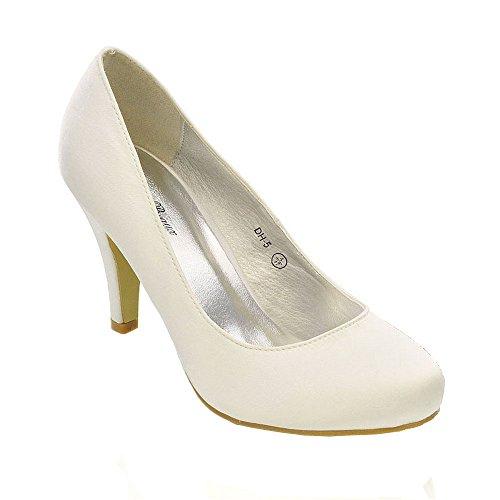 Belle Beaux - Damen Hochzeit Braut Pumps Mittler Absatz Weiß Elfenbein 36 37 38 39 40 41 - Satin, Weiß Satin, 39