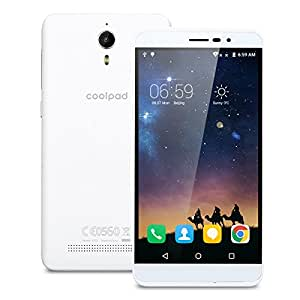 "Coolpad Porto S Smartphone 4G Android 5.0 (MTK6735P Quad Core 1.0Ghz, 5.0"" IPS HD Schermo, 1GB RAM 8GB ROM, 2MP+8MP Camera, Dual SIM, 2000mAh Batteria, GPS, WIFI) Bianco"