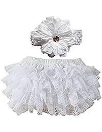 Bloomer Bebe Fille Culotte Bloomer Couvre-couche Ruffle et bandeau élastique dentelle fleur Accessoire de Photographie pour Bebe Fille(Blanc)
