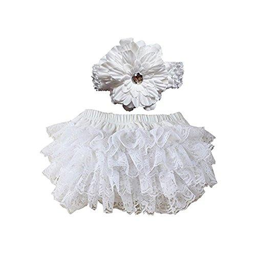 EQLEF® sveglio e Soft Lace Ruffle Bloomers Diaper Covers fascia Set For Baby (bianco)
