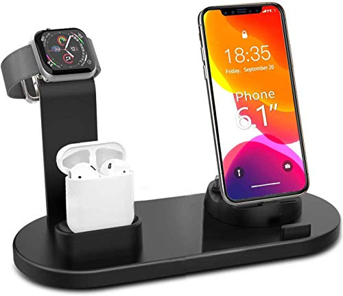 ATETION Support de Charge, 3 en 1 Multi Charger Dock Base de Station de téléphone Portable Compatible avec Apple Watch Stand Airpods Universal Totatable Desktop Smartphones Titulaire de Charg
