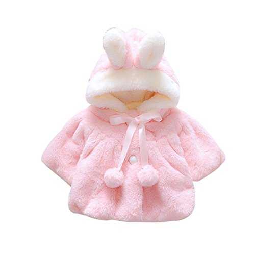Kingko® 0~24 Month Baby Girls Infant Fur Winter Warm Coat Cloak Jacket Thick Warm Clothes (Age:12~18 Month, Pink)
