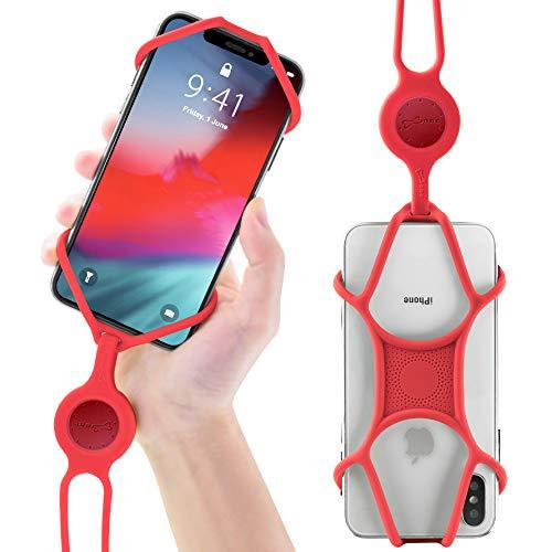 Multifunktion Handy Umhängeband Schlüsselband, Universal Handy Halsband, Elastische Umhängetasche Lanyard für iPhone X XR XS Max 8 7 Plus Samsung Galaxy S9 S8 S7 Huawei - Rot