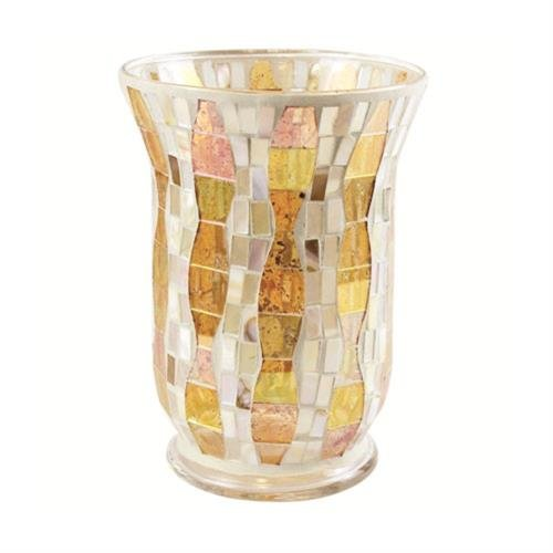 Yankee Candle, Gold Wave Glass Mosaic tea light holder, bright, colourful, 22.5 x 16 x 16 cm, 1521496