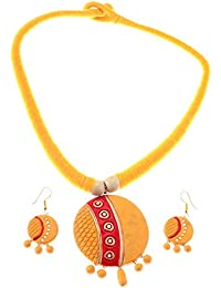 More Bangla Alankar Terracotta Jewellary Set (Yellow)