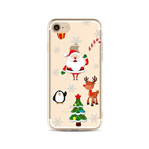 "CoqueiPhone 7 Etui Housse Xmas,BoomTeck Coque Pour 4.7"" Apple iPhone 7 Silicone Souple Transparente Motif Clear Ultra Mince Anti Choc Anti-rayures Gel TPU Etui Protection Bumper Case Merry Christmas  11"