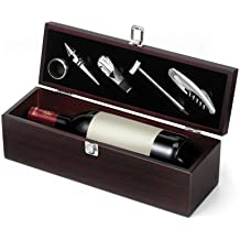 Mack–Juego de accesorios para vino (Caja de madera maletín