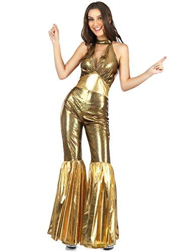 Kostüm Gold Jumpsuit - Generique 70er-Jahre Disco-Jumpsuit für Damen Gold M