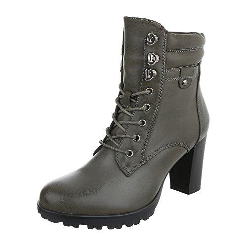 Ital-Design Schnürstiefeletten Damen-Schuhe Combat Boots Pump Schnürer Schnürsenkel -