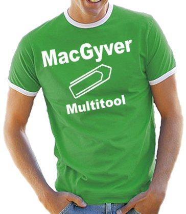 MacGyver - Multitool Kontrast / Ringer T-Shirt Kelly Green/White, M (Ringer Kelly Green)