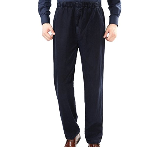 WTUS Grandi dimensioni Pantaloni Sportivi da Di mezza età Uomo, Molto Caldi Blu