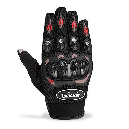 CARCHET Motorradhandschuhe Sommerhandschuhe 1KP Motorrad Handschuhe aus Leder Touchscreen Fallschützend mit Harter Schutzhülle rutschfest Fahrradhandschuhe atmungsaktiv für Damen und Herren XL (XL) (Damen Leder Handschuh Touchscreen)