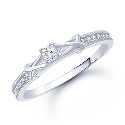 V. K. Jewels Jewels Fancy Silver Brass Alloy Cz American Diamond Ring For Women Vkfr1049R8