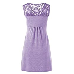 Women Lace Floral Dress, ❤️ Familizo Women Summer Solid Sexy O Neck Sleeveless Vest Dress Lace Floral Patchwork Bow Dress Blouse Fashion Cotton Blended Skirt Work Party Sale Clearance