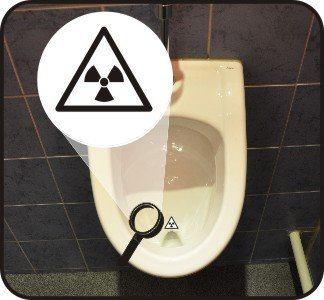 Pissoir-Zielhilfe, Urinal-Zielhilfe, Zielhilfe für Pinkelbecken - Radioaktiv
