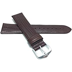 18mm, Slim, Brown, Glossy Finish, Womens' Genuine Leather Watch Band Strap, Comes in Black, Brown, Tan or Burgundy