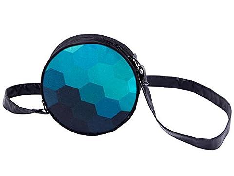 Sac rond à bandoulière sacoche besace enfant fille et garçon Fermeture-éclair zippée dessus Design sympa Convenable aussi comme accessoire sac à main pour adultes, choisir:HT-033 bleu pixel