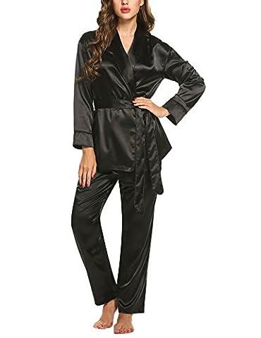 HOTOUCH Femme Luxe Doux Satin Ensemble Pyjama de Nuit Vêtements de Nuit Grande Taille Noir XXL