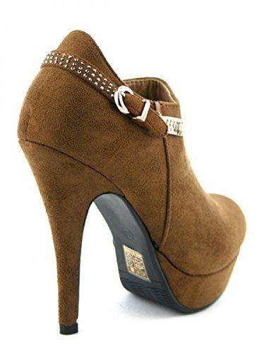 Cendriyon, Bottine Daim Caramel LADY Chaussures Femme Caramel