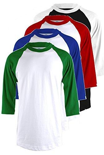Ollie Arnes Herren Basic T-Shirt Raglan Baseball Top weitem Halsausschnitt, 3/4Ärmel (Jersey-top Sleeve 3/4)