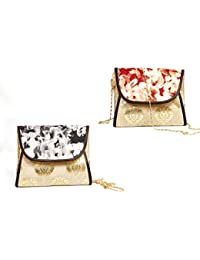 Bagzip Golden And Black Party Clutch+Golden And Red