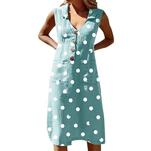 er, Vintage Polka Dots Sommerkleid Tief V-Ausschnitt High Waist Festkleider Revers Knöpfe Blusenkleid Sexy Partykleid Strandkleider mit Tasche ()
