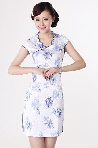 Smile YKK Femme Robe Courte Traditionnel Cheongsam Coton Blanc