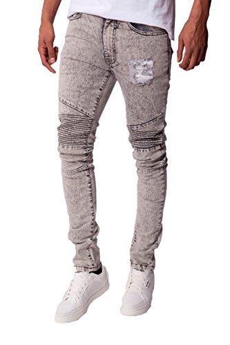 Hommes Seven Series Cobra Jeans Moulant Couture Rayures Jean Délavé A L' Acide Pantalon - Gris À L'acide, 46