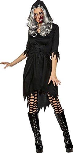 Orlob Damen Kostüm Kleid mit Kapuze Hexe Vamprin -