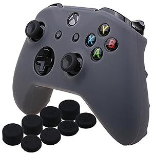 YoRHa Silikon Hülle Abdeckungs Haut Kasten für Microsoft Xbox One X & Xbox One S-Controller x 1 (grau) Mit Pro aufsätze thumb grips x 8