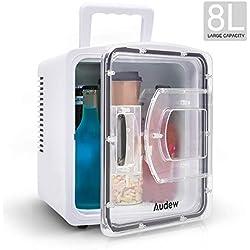 Audew Réfrigérateur de Voiture, 8 L Mini Frigo de Chambre Petit/Portable/Silencieux 2-en-1 25db Chaud & Froid avec Poignée et Deux Adapteurs AC & DC pour Pique-Nique Camping 31cm* 25.5cm* 31.4cm