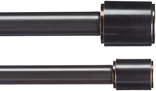AmazonBasics Tringle à rideau double avec embouts cylindriques 2,54 cm, de 0,9 à 1,83 m, Bronze