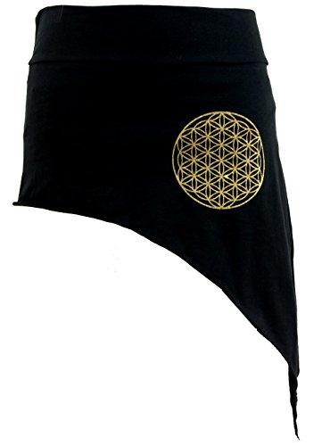 GURU-SHOP, Falda Pixi Tip con Mandala Dorado `Flower of Life`, Negro,