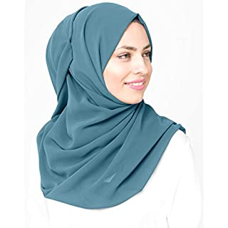 Inessence© New Adriatic Blue Poly Georgette Ladies Summer Scarf Regular Size Hijab Wrap